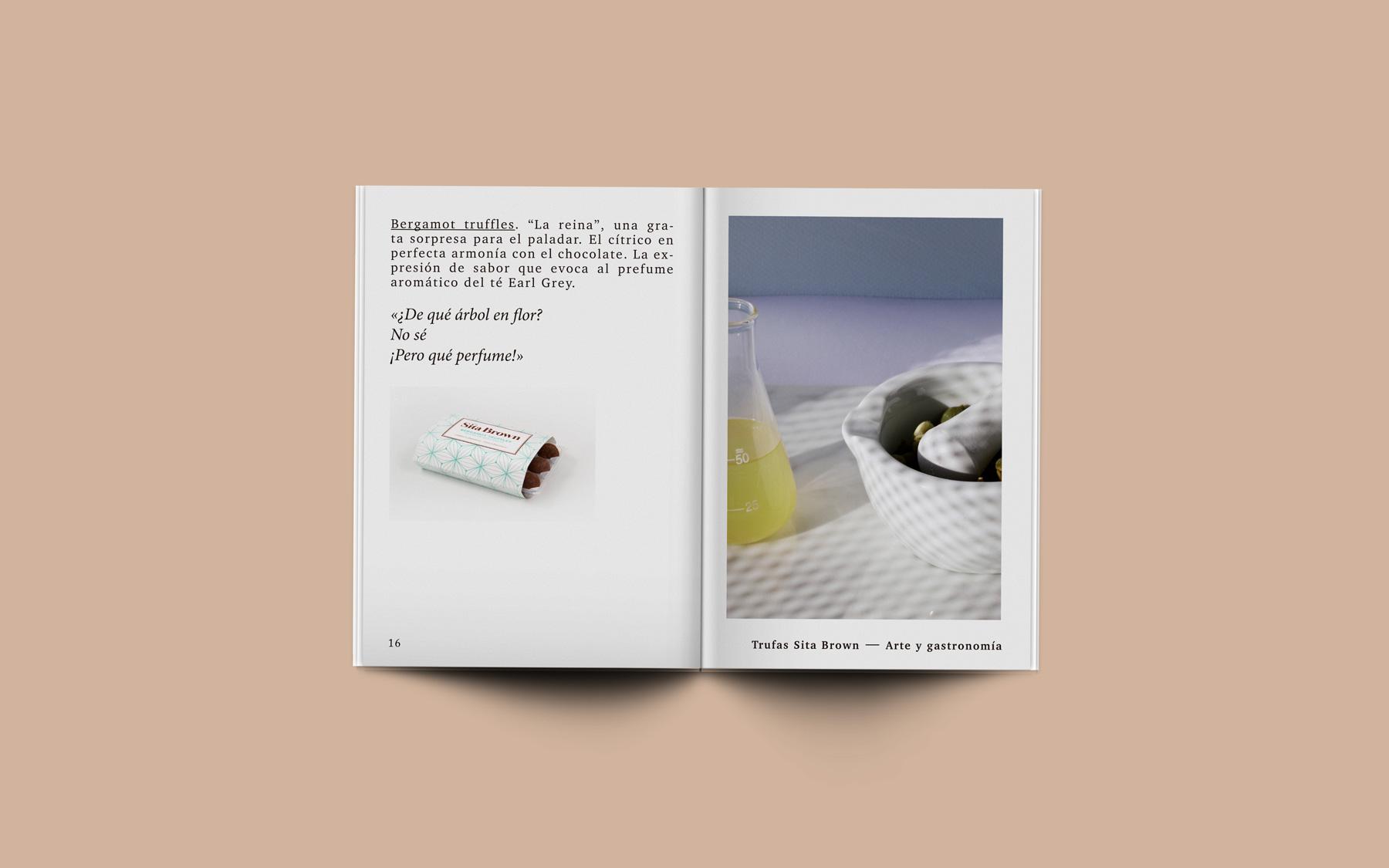 diseño editorial catalogo producto trufas chocolate
