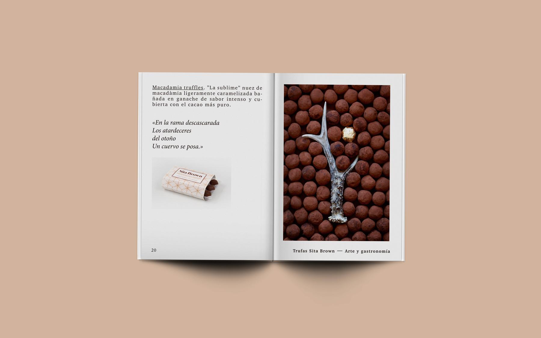 diseño editorial interior catalogo trufas chocolate