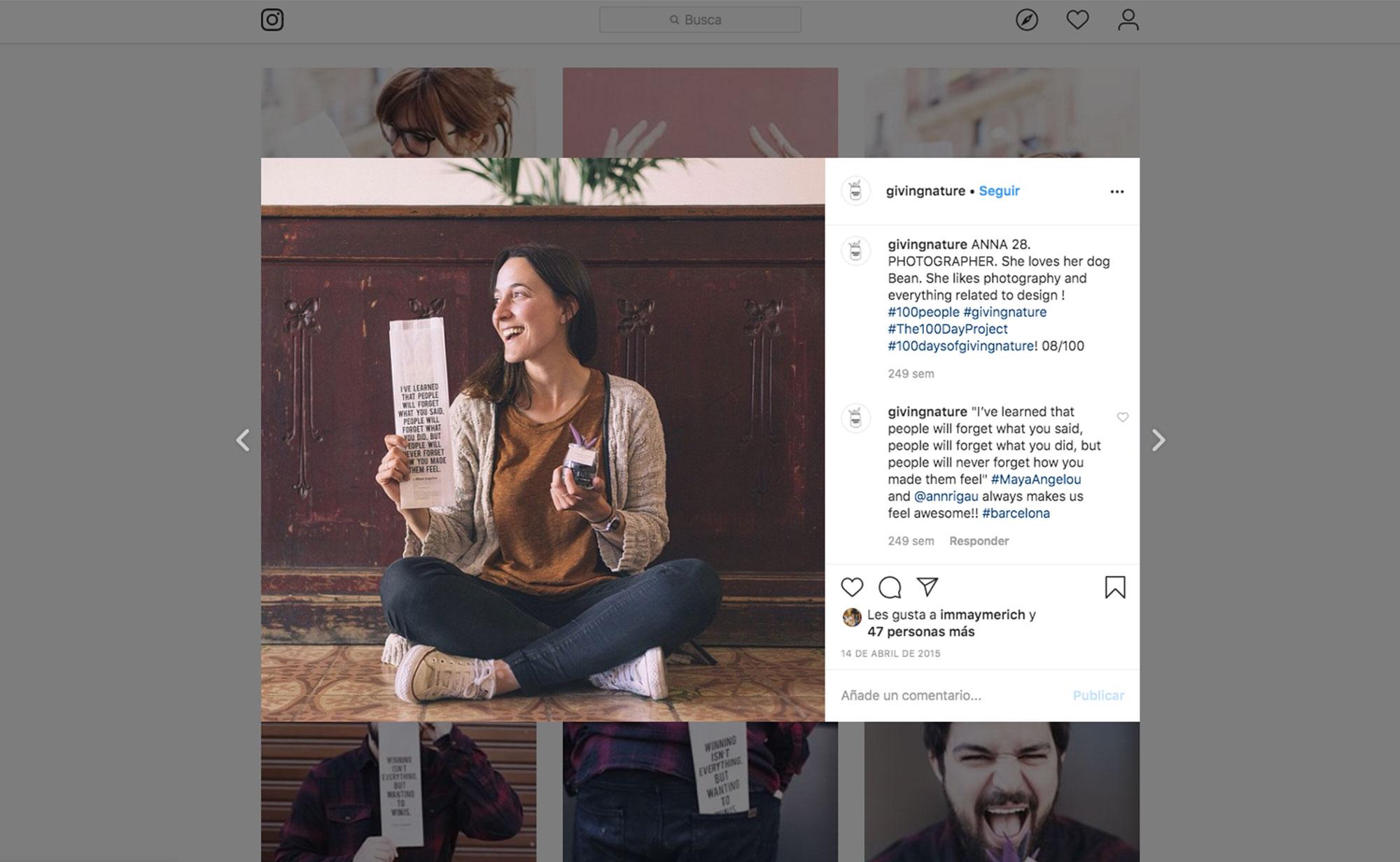 post instagram proyecto giving nature