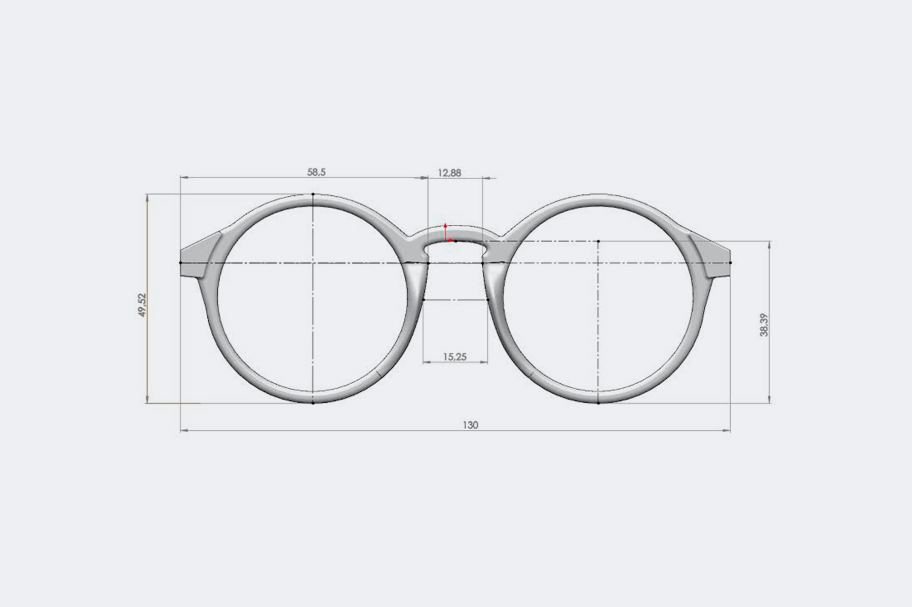 esuqema tecnico gafas 3d printed solid