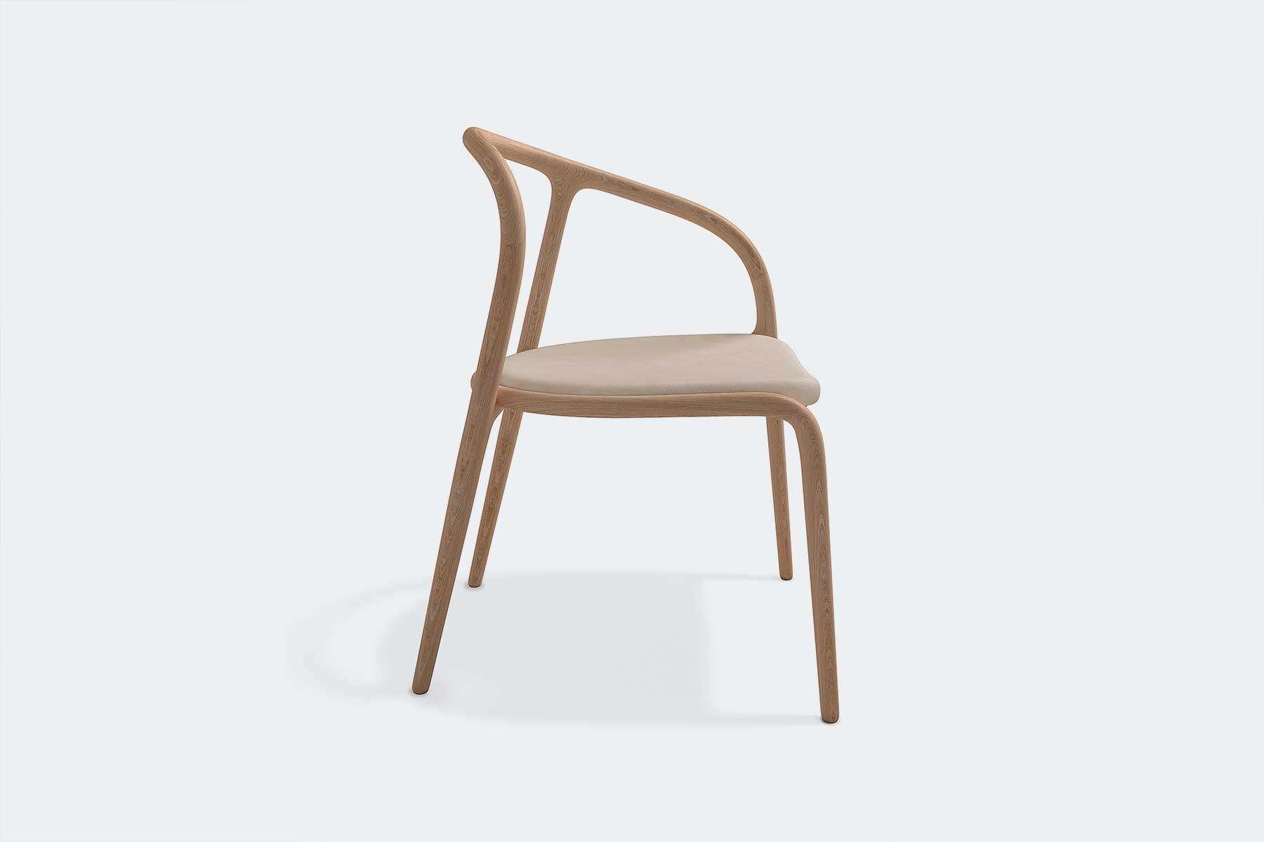 detalle lateral silla manca de madera