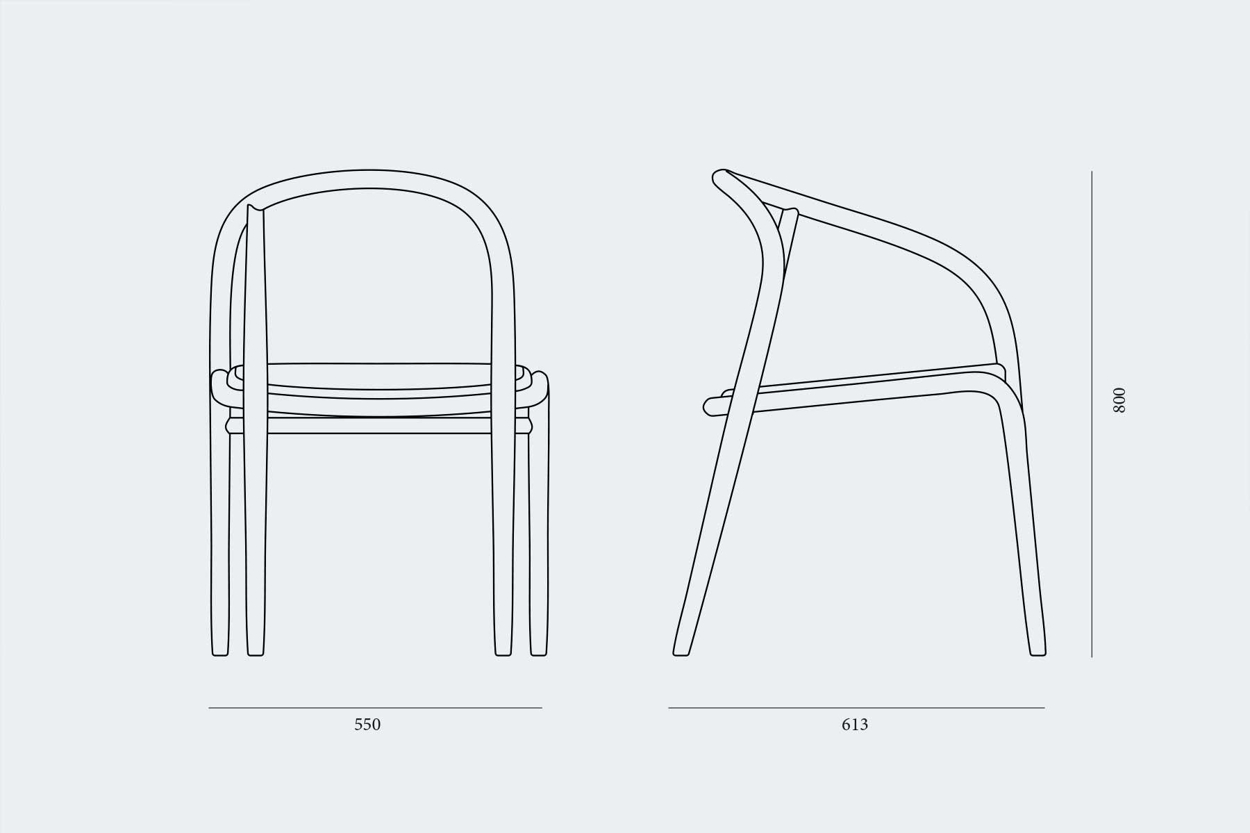 vista técnica dorsal y lateral silla con un solo brazo