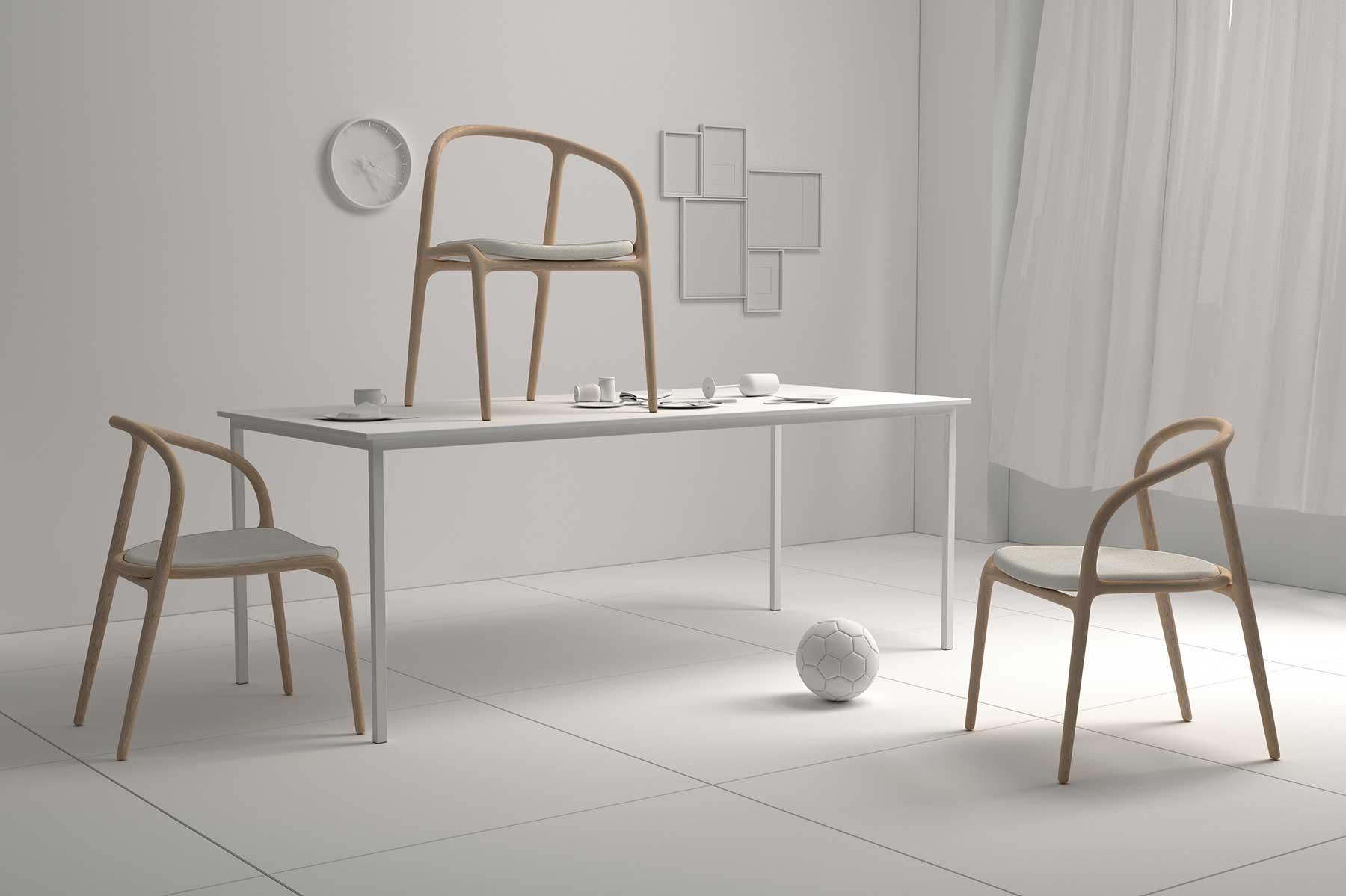 tres sillas diseño elegante madera escenario